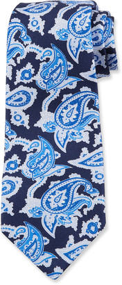 Kiton Men's Paisley Silk Tie, Navy