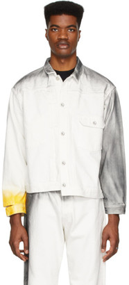 N.Hoolywood White Denim Distressed Jacket