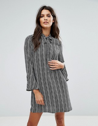 Goldie Janey Striped Leaf Printed Shift Dress With Bell Sleeves And Neck Tie-Multi