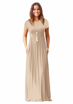 YMING Lady Summer Short Sleeve Dress Casual Long Dress T-Shirt Dress Tunic Slim Fit Crew Neck Dress Elegant Solid Color Loose Maxi Dress with Pockets Wine Red XL