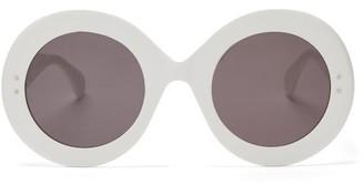 Alaïa Eyewear Alaia Eyewear - Oversized Round Acetate Sunglasses - White Grey