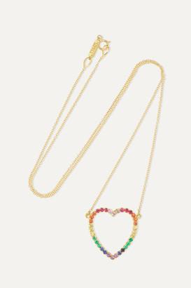 Jennifer Meyer Large Open Heart 18-karat Gold Multi-stone Necklace