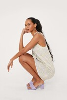 Thumbnail for your product : Nasty Gal Womens Floral Button Down Tie Shoulder Mini Dress - Yellow - 12