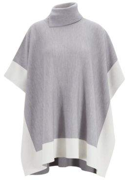 BOSS Colour-block poncho in virgin wool