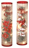 "Sterling 16"" Electric Lighted Crackle Glass Holiday Tabletop Decor Set of 2"