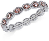 Charter Club Silver-Tone Pavé & Pink Stone Bracelet, Only at Macy's