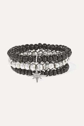 Sydney Evan Set Of Three Multi-stone Bracelets - Silver