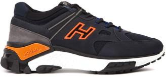 Hogan Blue Orange And Black Nabuck Leather Urban Trek Sneakers