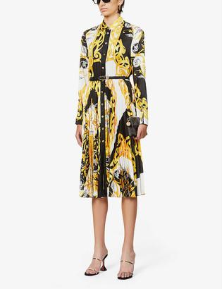 Versace Baroque-print silk-satin midi dress