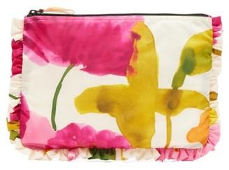 La DoubleJ Flower Print Frilled Satin Pouch - Womens - Pink Multi