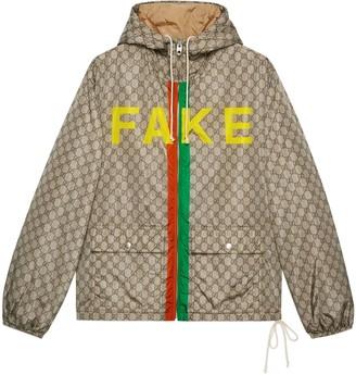 Gucci 'Fake/Not' print GG nylon jacket