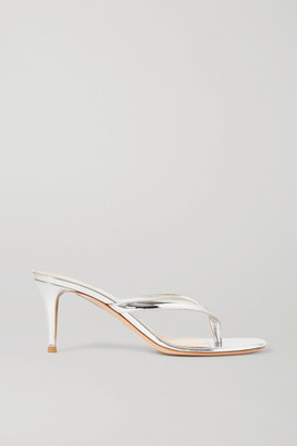 Gianvito Rossi Calypso 70 Metallic Leather Sandals - Silver