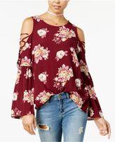 Hippie Rose Juniors' Printed Bell-Sleeve Cold-Shoulder Top