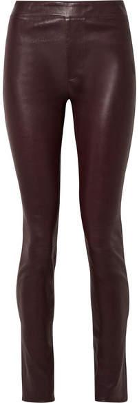 Helmut Lang Leather Skinny Pants - Merlot