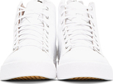 Diesel White Leather Quilted Diamond Sneakers