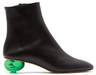 Gray Matters - Egg-heel Leather Ankle Boots - Womens - Black Green