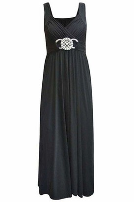 Purple Hanger Womens Sleeveless Ladies Cross Over Wrap Buckle Belt Back Tie Fastening Long Maxi Dress Plus SizeBlack Size 20 - 22