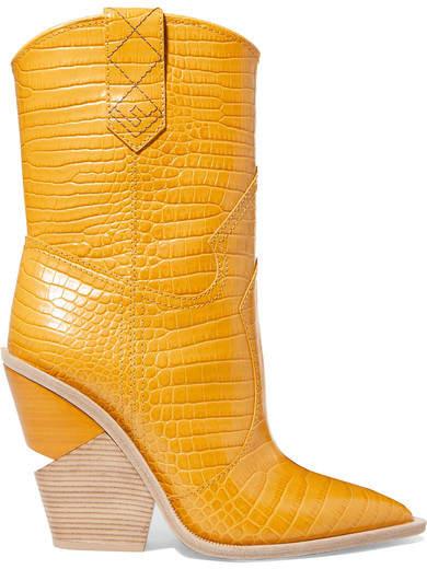 Fendi Croc-effect Leather Boots - Yellow