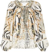 Thumbnail for your product : Camilla Gates of Glory-print off-the-shoulder blouse