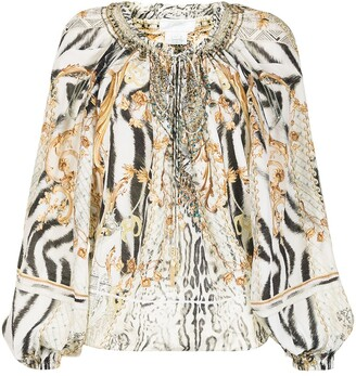 Camilla Gates of Glory-print off-the-shoulder blouse