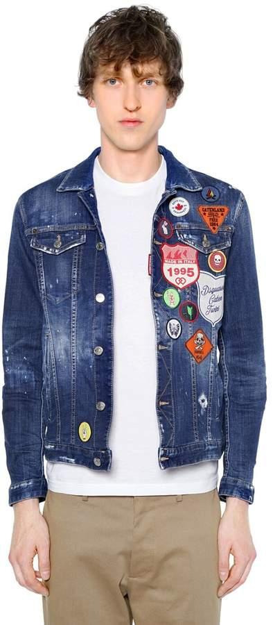 DSQUARED2 Cotton Denim Jacket W/ Patches