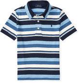 Ralph Lauren Striped Jersey Knit Polo Shirt, Blue, Sizes 2-4