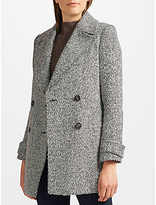 John Lewis Relaxed Double Breasted Pea Coat, Black/White Texture