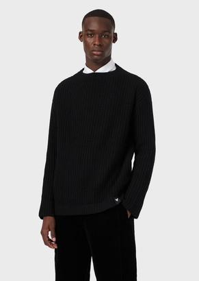 Emporio Armani Wool Sweater With Dropped Ribbing