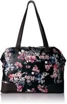 Bueno of California Printed Weekender Carry On Bag, Black Garland Flower / Dk Brown
