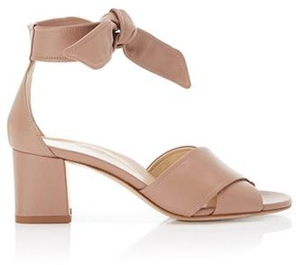 Marion Parke Bella Blush | Leather Block Heel Ankle Tie Sandal