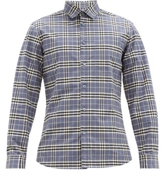 Burberry Simpson Checked Cotton-blend Shirt - Blue