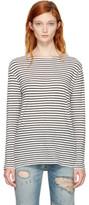 R 13 Ecru and Black Striped Boatneck T-shirt