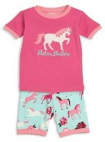 Hatley Toddler's, Little Girl's & Girl's Two-Piece Pony Embroidered Tee & Shorts Pajama Set