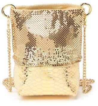 Whiting & Davis Mesh & Snakeskin Printed Mini Bucket Bag