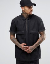 Asos Denim Military Overhead Shirt With 2 Pockets In Short Sleeve