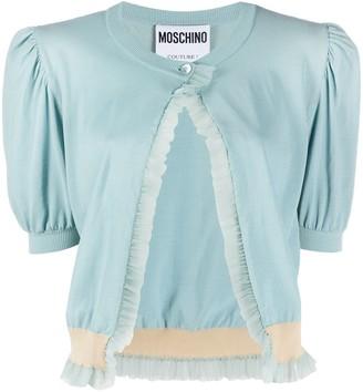 Moschino Ruffle-Trim Puff-Sleeve Cardigan