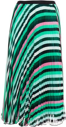Diane von Furstenberg Pleated Printed Goergette Midi Skirt