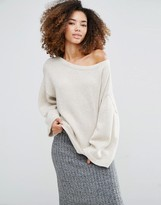 Shae Olivia Cashmere & Wool Mix Wide Neck Sweater