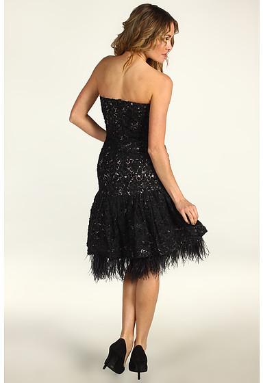 Badgley Mischka Drop Waist Embroidered Lace Cocktail Dress