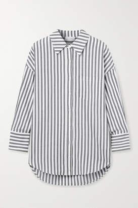 Anine Bing Mika Striped Cotton-poplin Shirt - Gray