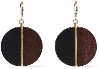 Kenneth Jay Lane 22-karat Gold-plated Wood Earrings