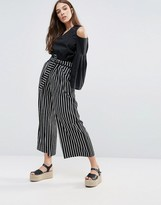 Liquorish Striped Wide Leg Pants With Tie