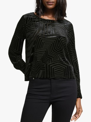 Nümph Adidaja Long Sleeve Velour Top, Caviar