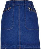 River Island Womens Bright blue zip denim skirt
