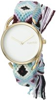 RumbaTime Women's 20014 'Jane Gold GiveDirectly' Quartz Metal and Cloth Blue Watch