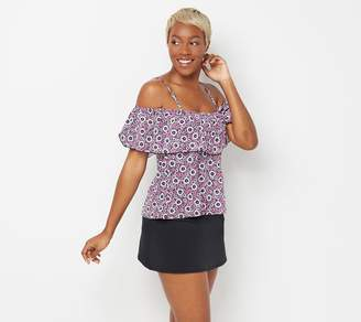 Fit 4 U Off-the- Shoulder Ruffle Tankini with Skirt