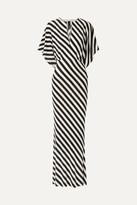 Norma Kamali Striped Stretch-jersey Maxi Dress - Black