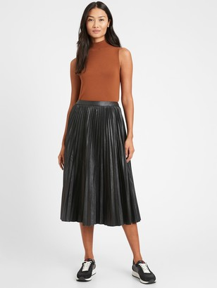 Banana Republic Petite Vegan Leather Pleated Midi Skirt
