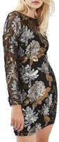 Topshop Women's Sequin Floral Body-Con Dress
