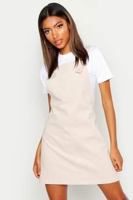 boohoo Pocket Front Cord Pinafore Dress